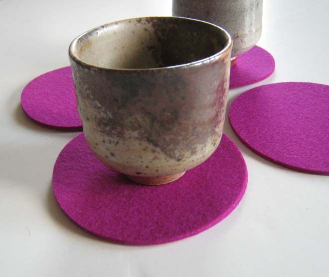 Magenta Felt Drink Coaster Set, Fuschsia Coasters, Fabric Coasters, Table Coasters. $13.00, via Etsy.