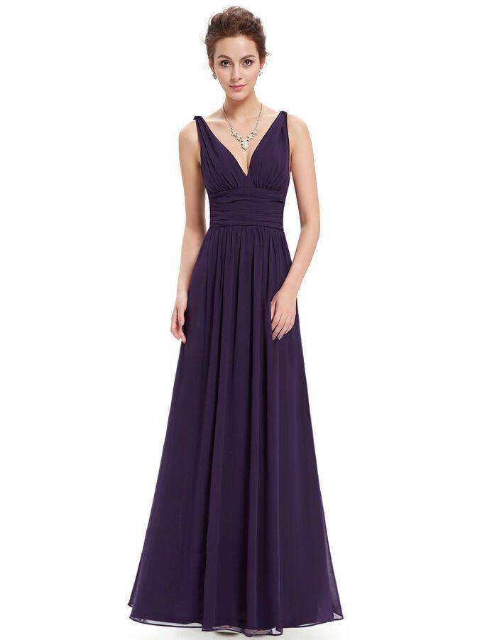 d05c8ba6166e Ever-pretty Long Chiffon V Neck Evening Formal Party Prom Bridesmaid Maxi  Dress#Neck#Evening#Chiffon