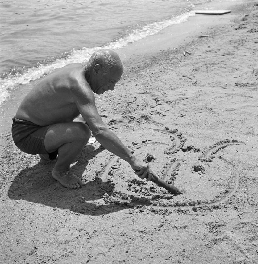 Pablo Picasso Drawing On The Beach By Willy Rizzo 1960s