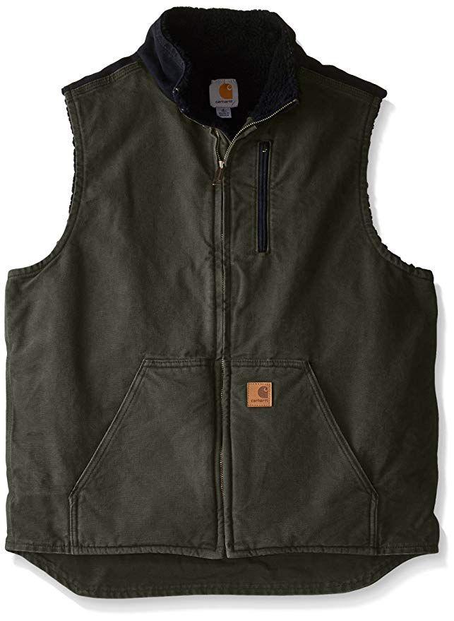 b469413b0d383 Carhartt Men's Tall Sherpa-Lined Sandstone Mock-Neck Vest V33 at Amazon  Men's Clothing store: