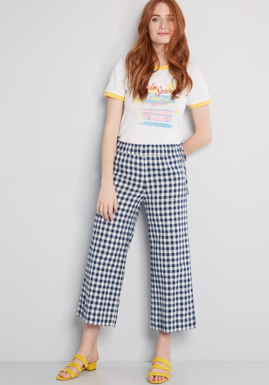 4c7f252b9fa Keeping Breezy Cotton Wide-Leg Pants These wide-leg pants flaunt a  comfortable elasticized