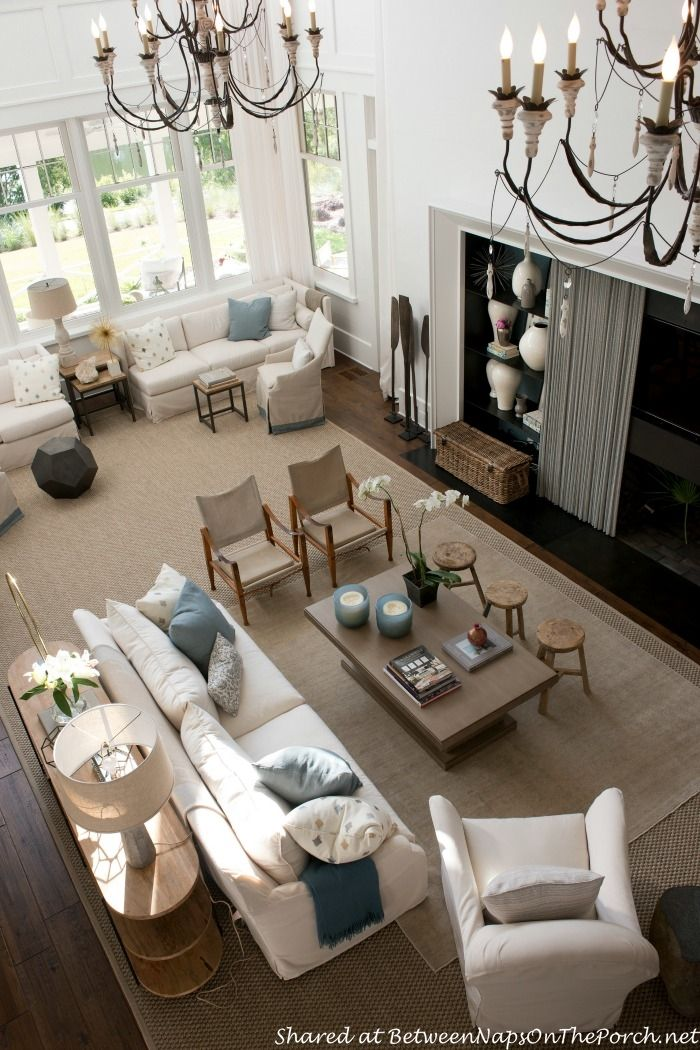Tour The Beautiful 2014 Southern Living Idea House In Bluffton South Carolina Livingroom Layout Hamptons Living Room Big Living Rooms