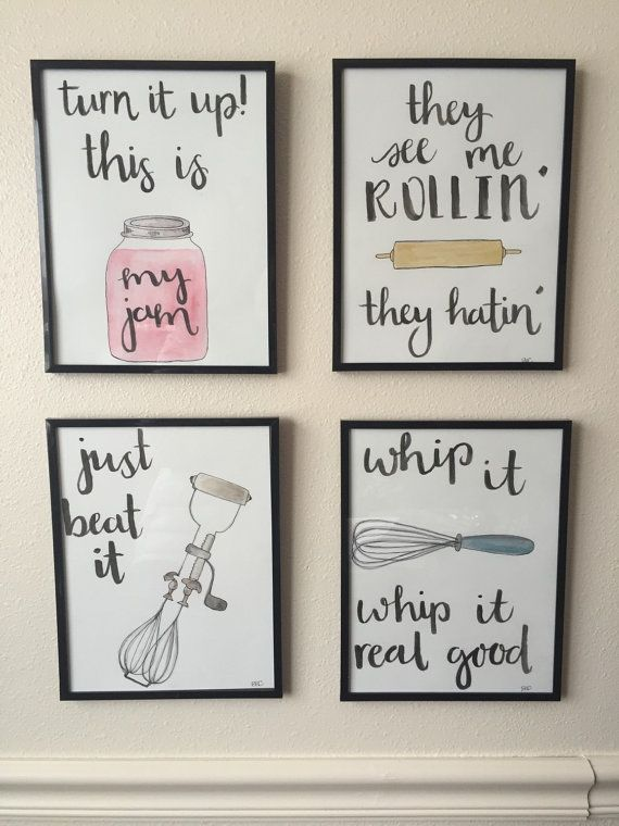 These Are Adorable Kitchen Puns Watercolor Kitchen Puns Set Of By Bevcartwrightdesigns On Etsy