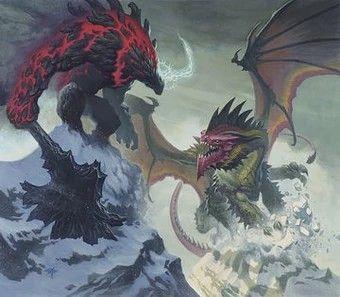 Asgorath battling Erek-Hus   Criaturas fantásticas. Personajes de fantasía. Dragones