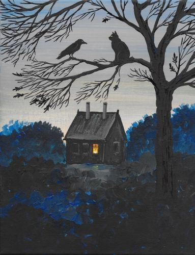 ACEO PRINT OF PAINTING RYTA RAVEN CROW LANDSCAPE VINTAGE STYLE FOLK HALLOWEEN