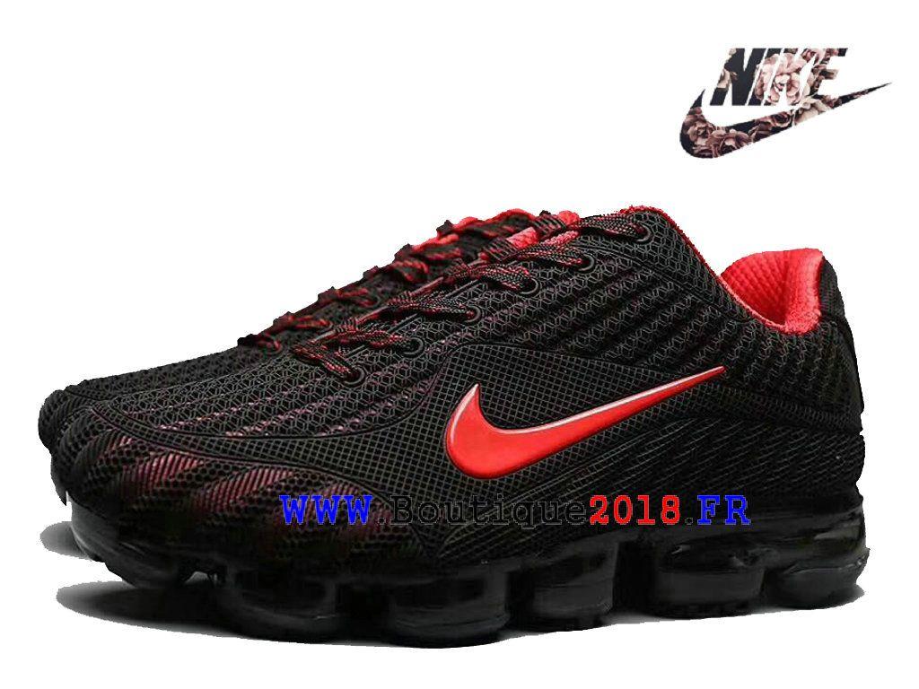 Nike Air VaporMax 2018 Flyknit Nouveauté Fashion Sports Chaussures Pas cher Homme  Noir grand rouge 6d294740add2