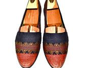 Make an Offer Needlepoint Tapestry BOHEMIAN Ethnic Slip On Leisure Loafers Shoes Stubbs and Wootton Style Slippers Ladies 8 8.5 Stunning