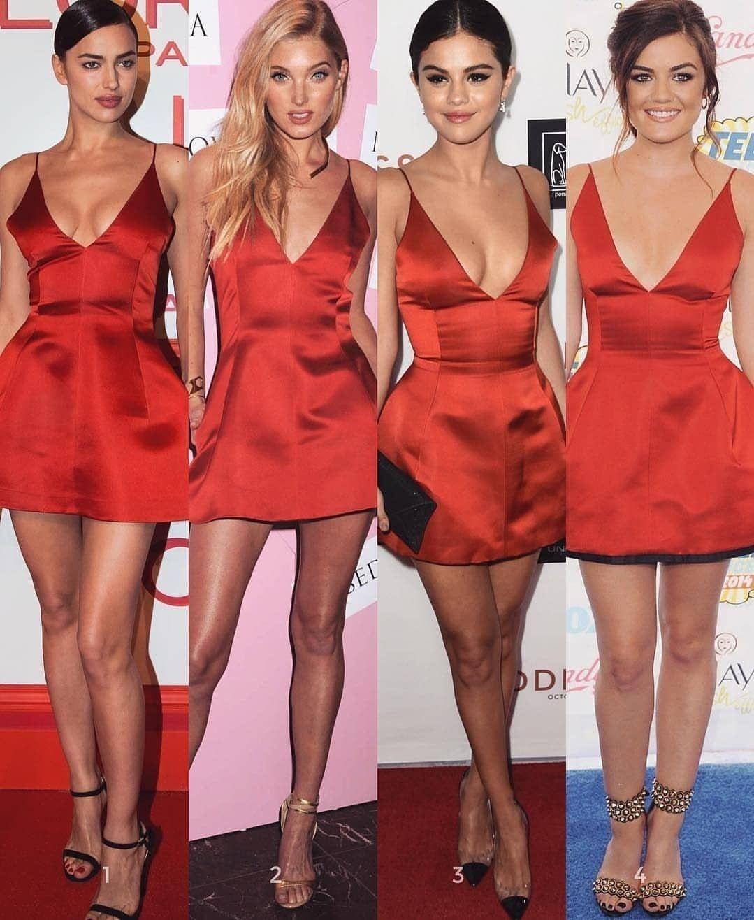 aad304d3c9c red  Dior mini dress ❤ Who wore it best  1-4      IrinaShayk  ElsaHosk   SelenaGomez  LucyHale via  fashionovely  redDress PartyDress