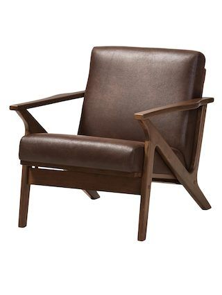Baxton Studio Bianca Mid Century Modern Walnut Wood Dark Brown Distressed  Faux Leather Lounge Chair Affordable Modern Furniture In Chicago, Classic  Living ...