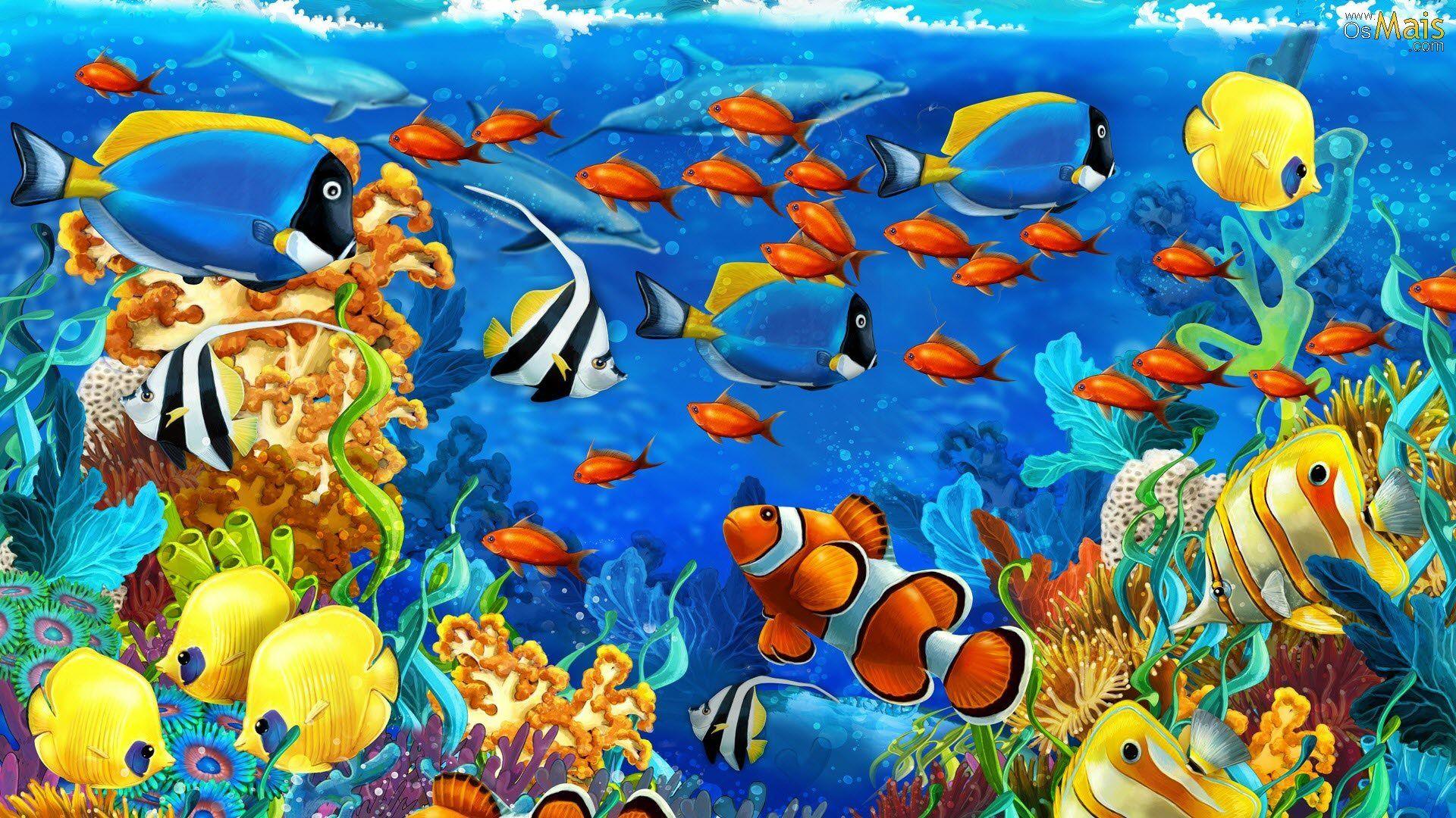 Peixes No Aquario Wallpaper Ideias Para Pintura Pintura A Oleo