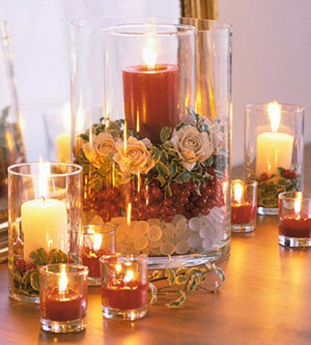 Table arrangement with candles