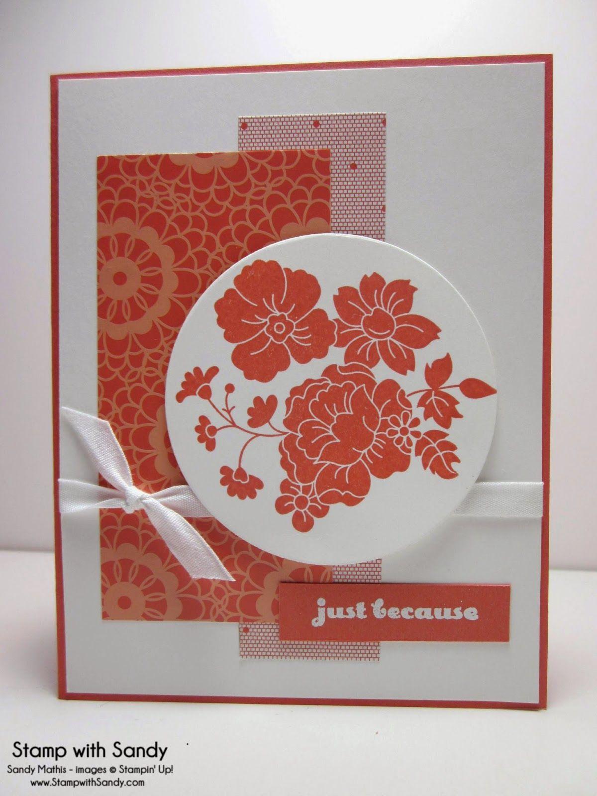 handmade card ... monochromatic red orange ... like the two ...