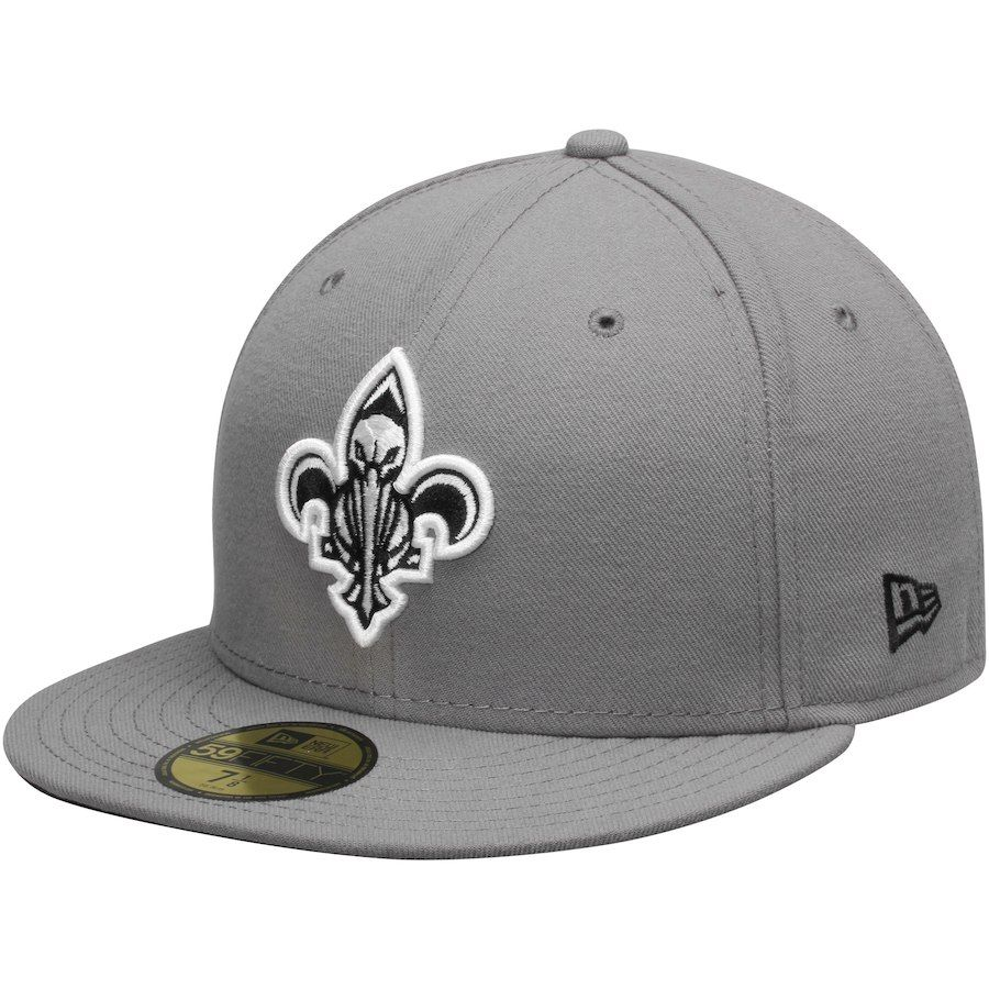Mens New Orleans Pelicans Era Gray Black 59FIFTY Fitted Hat Sale 2399