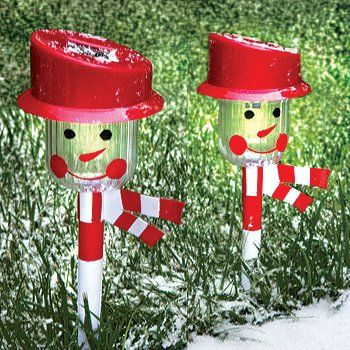 christmas holiday snowman solar powered landscape pathway lights set of 2 - Christmas Solar Pathway Lights