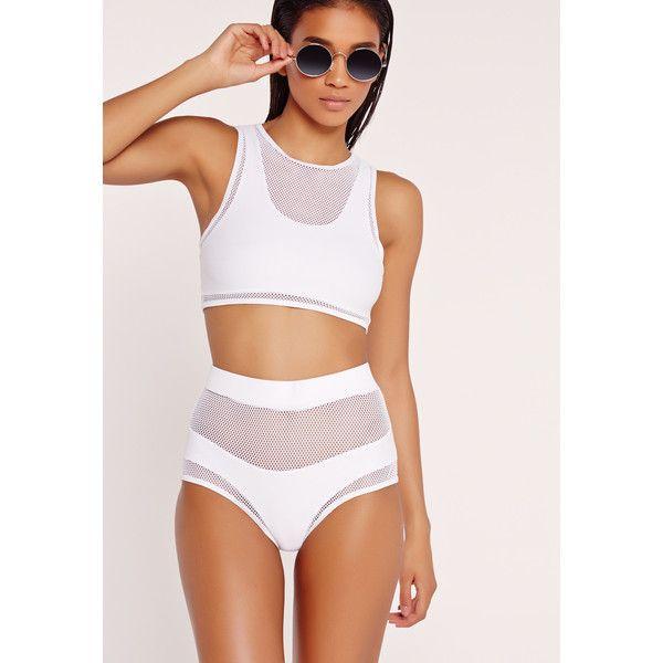 755e65e3acc73 Missguided Mesh Detail High Waisted Bikini Set ($40) ❤ liked on Polyvore  featuring swimwear, bikinis, white, high neck swim top, tankini tops, high  waisted ...