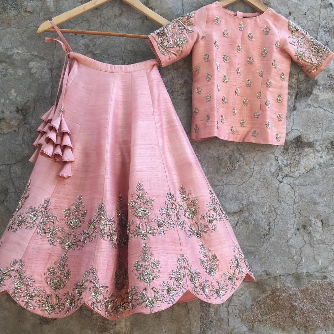 How adorable is this customized order for a 7 year old ? A fresh blush pink lehenga with an embroidered crop top. 