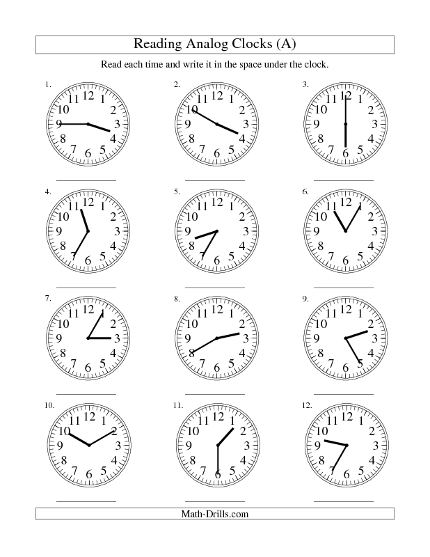 measurement worksheet reading time on an analog clock in 5 minute intervals a school. Black Bedroom Furniture Sets. Home Design Ideas