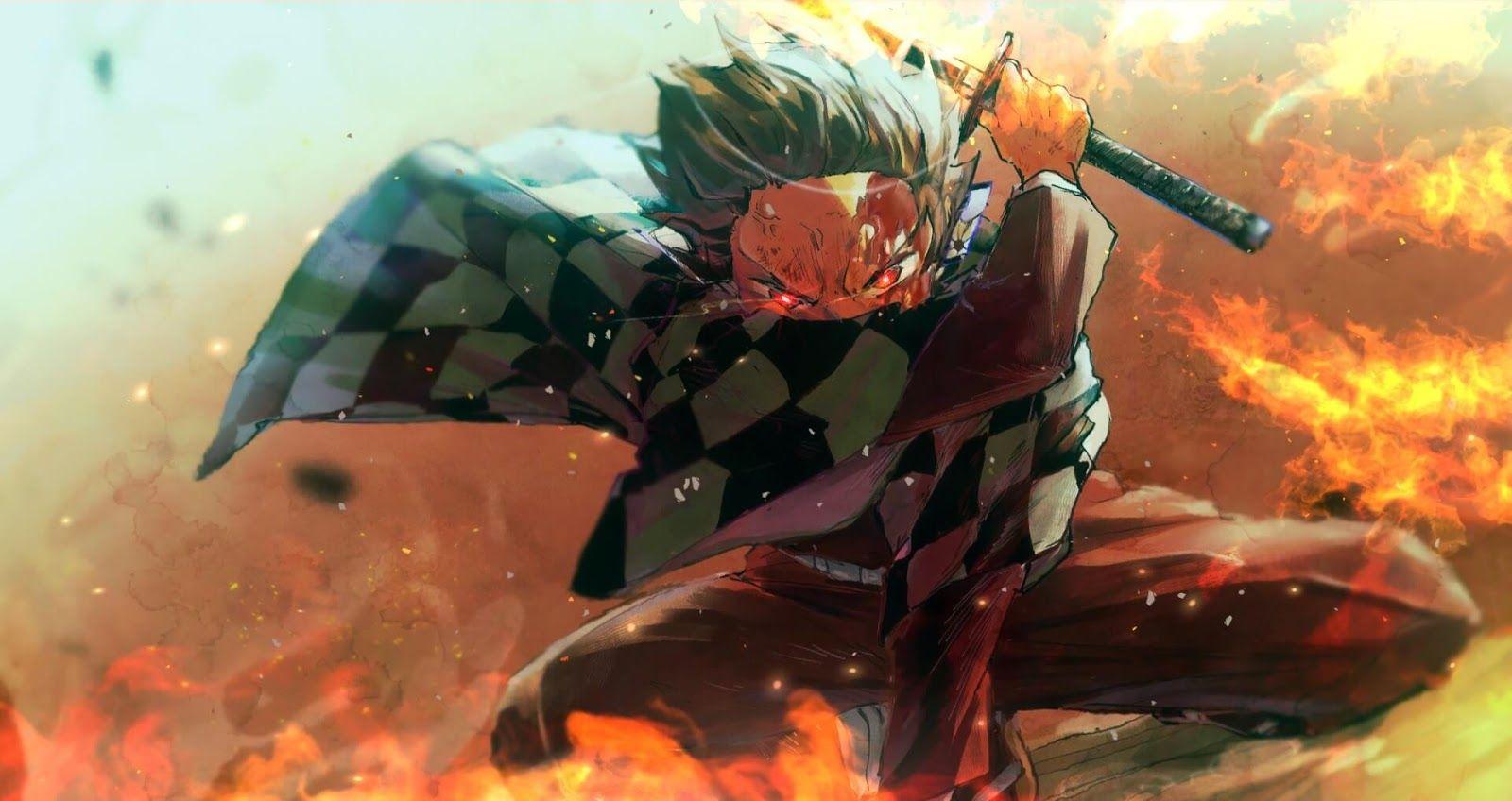 Kimetsu No Yaiba Fire God Tanjiro Wallpaper Engine Anime Seni Anime Animasi Animasi 3d