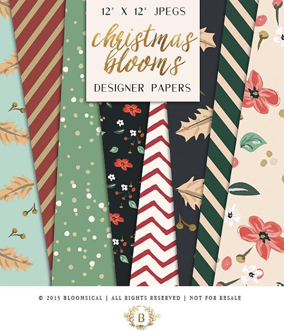 Christmas Digital Papers | Flowers Leaves Holiday Patterns | Printable| DIY Scrap booking