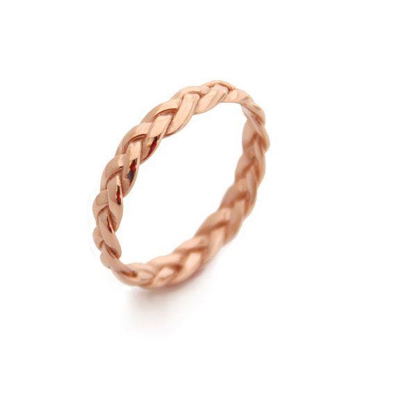 Rose Gold Wedding Band For Women, Celtic Wedding Ring, Rose Gold Stacked Wedding Band, Braided Gold Ring, Thin Rose Gold Wedding Ring
