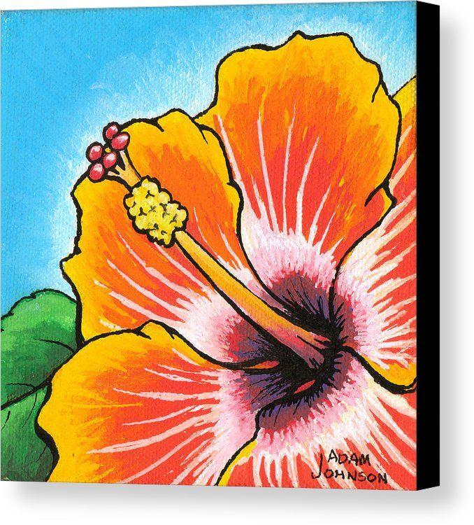 Art print POSTER Canvas Beach Hibiscus Flower