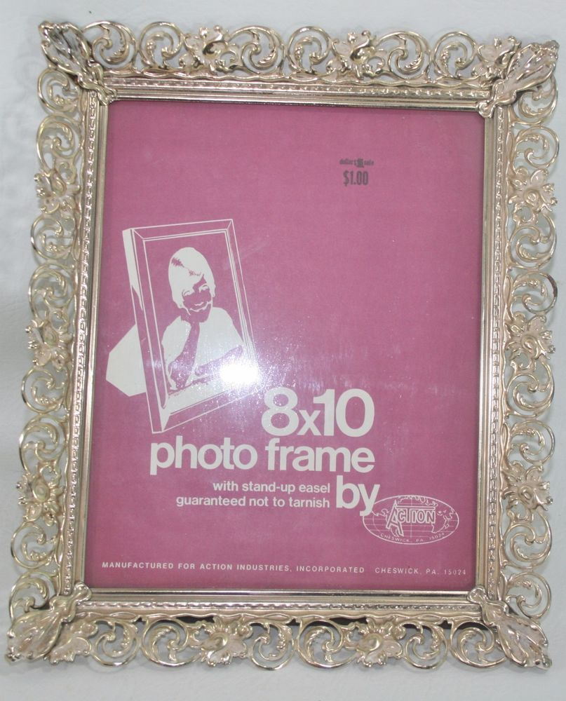 Vintage 8x10 picture frame ornate gold tone filigree metal white 8x10 picture frames jeuxipadfo Image collections