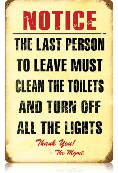 Vintage Clean Toilet Metal Sign 12 x 18 Inches | Clean toilets ...
