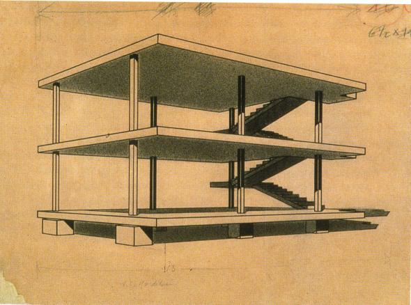 le corbusier maison dom ino 1914 des l ments de construction traditionnels fondations dans. Black Bedroom Furniture Sets. Home Design Ideas