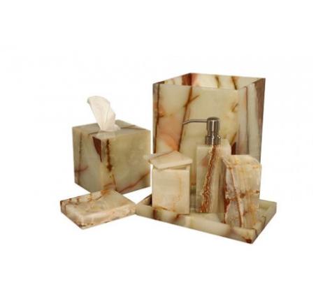 Marblecrafter Myrtus Light Green Onyx Bath Collection 8 Pieces