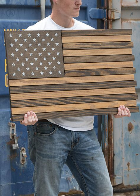 American Flag - Wooden Flag Subdued (No Box)