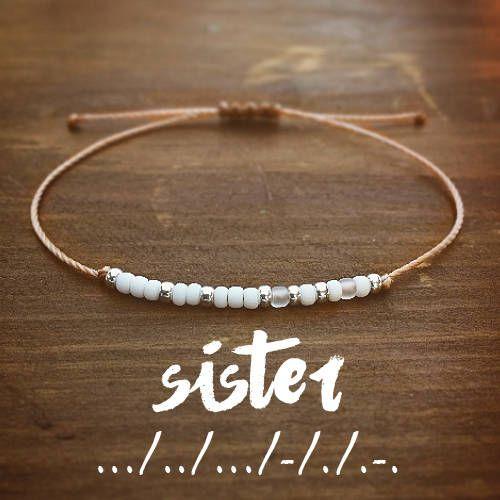 Sister Morse Code Bracelet Best Friend Gift For Her