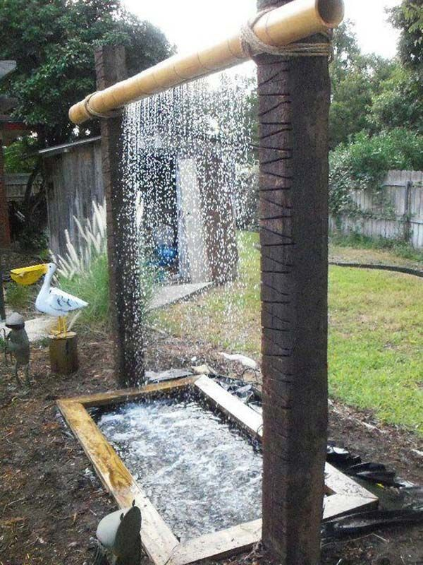 Build a log or wood slice fountain for backyard fountain for Building a fountain pond