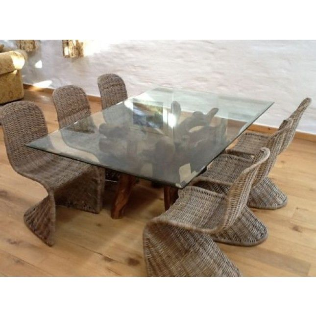 Reclaimed Teak Root Glass Topped Dining Table M X M - Reclaimed wood and glass dining table