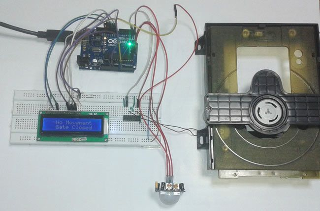 Pir sensor based automatic door opener project using