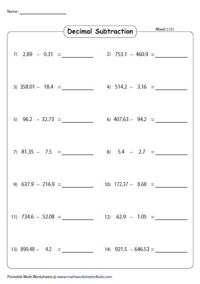 Subtracting Decimals: Horizontal Format - Mixed Decimals, Subtraction,  Subtraction Worksheets