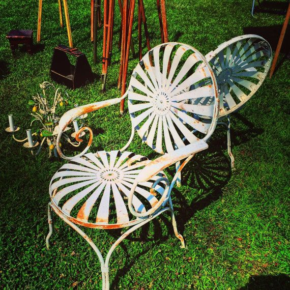 french spring steel garden chairs pair heavy and sturdy some slight surface rust for