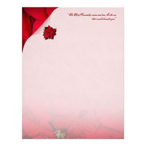 Red Poinsettia Christmas Stationery Customized Letterhead  A