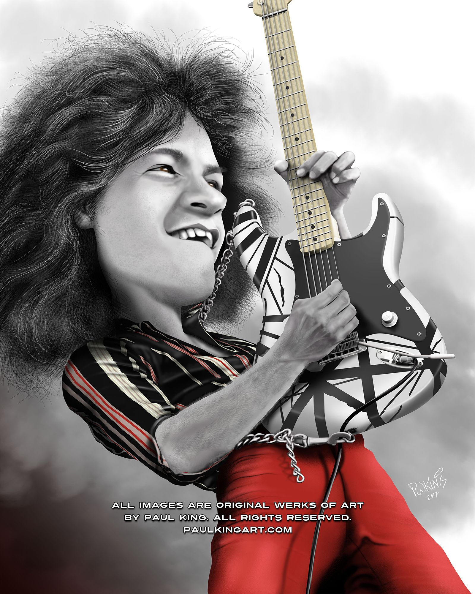 Eddie Van Halen Caricature 1974 Age 19 Shown Here With His Frankenstrat 1 On Their First Us Van Halen Tour Caricature Eddie Van Halen Celebrity Caricatures