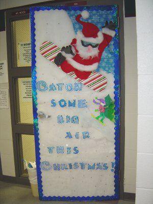 Snowboarding Santa Door Display & Snowboarding Santa Door Display | Bulletin Boards u0026 Door Decor ...