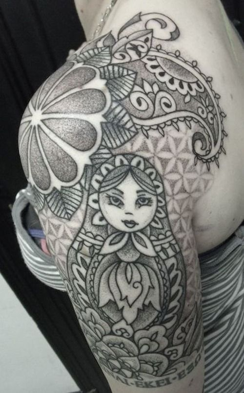 Russian Inspired Russian Doll Tattoo Tattoos For Women Half Sleeve Tattoo Sleeve Filler