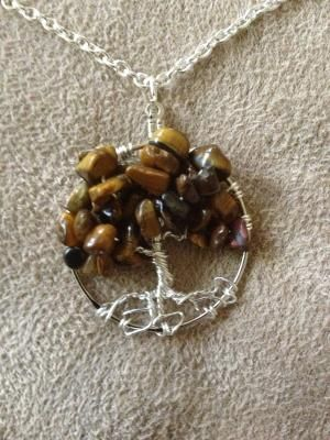 Cats Eye Tree of Life Hand Wire Wrapped Pendant