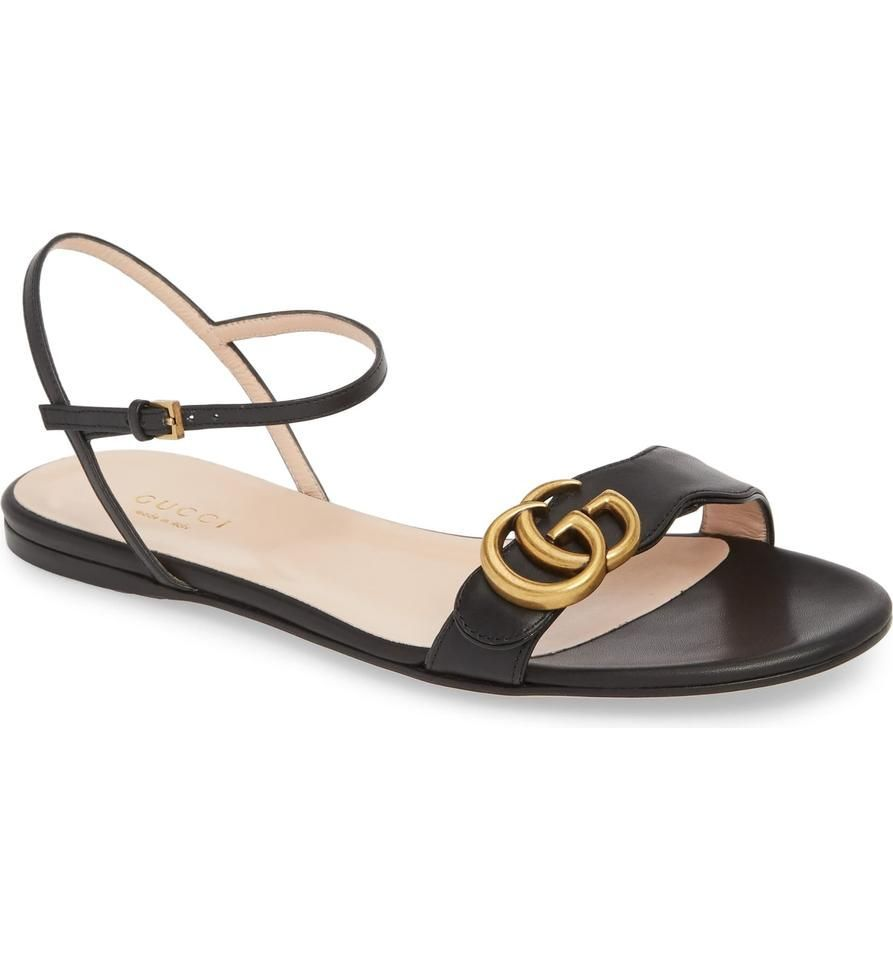 Gucci Black Marmont Box New Gg Logo Flats New Sandals Size EU 39 Approx US 9 Regular M Bapprox