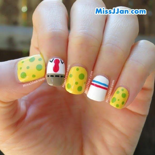 Tutorial Spongebob Squarepants Inspired Nail Art Nail Art