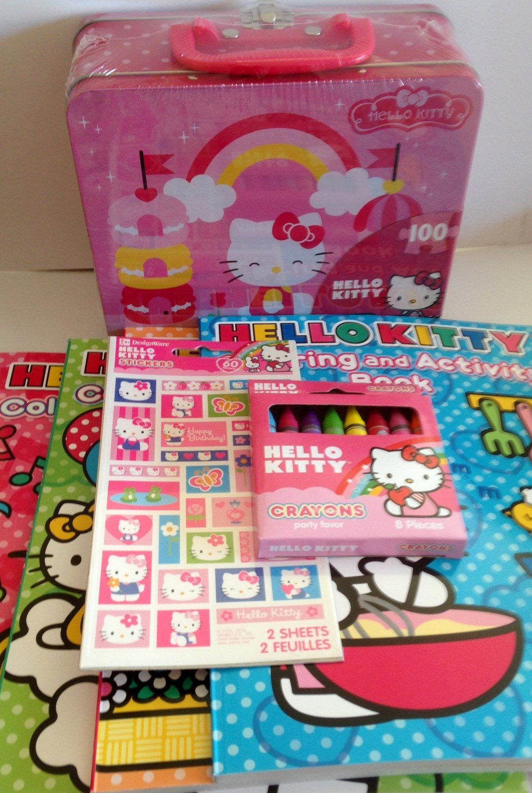Gift Set 4 Hello Kitty Jumbo Coloring Activity Books Crayons Stickers 100pc Puzzle