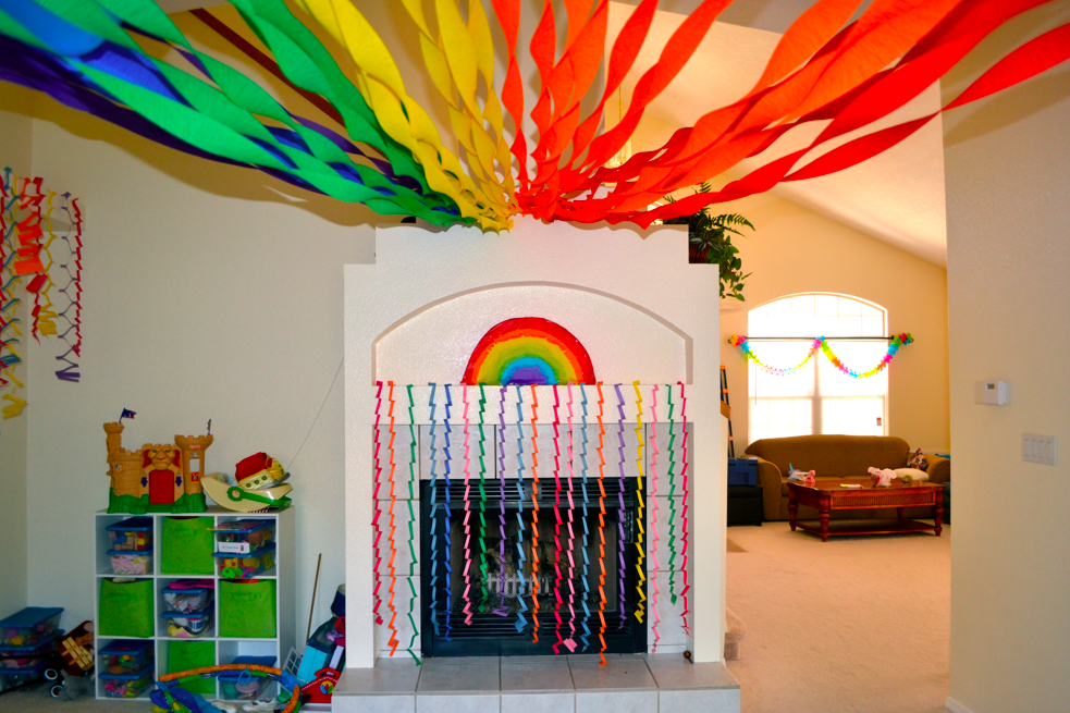 Rainbow Ceiling Decorations Although Check What The Fire Code Specifies For