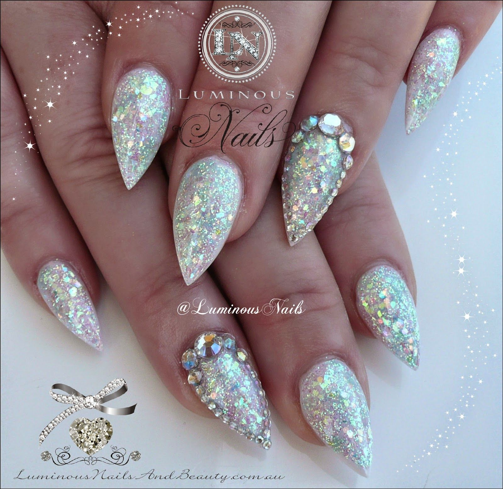 Luminous Nails: White Opal Effect Acrylic Nails with Bling. | nails ...