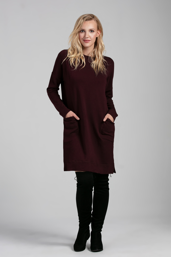 Womens Organic Bamboo Viscose Essentials Fleece Dresses in fig - LNBF  Sustainable Clothing Designed in Canada 0f7c93c55