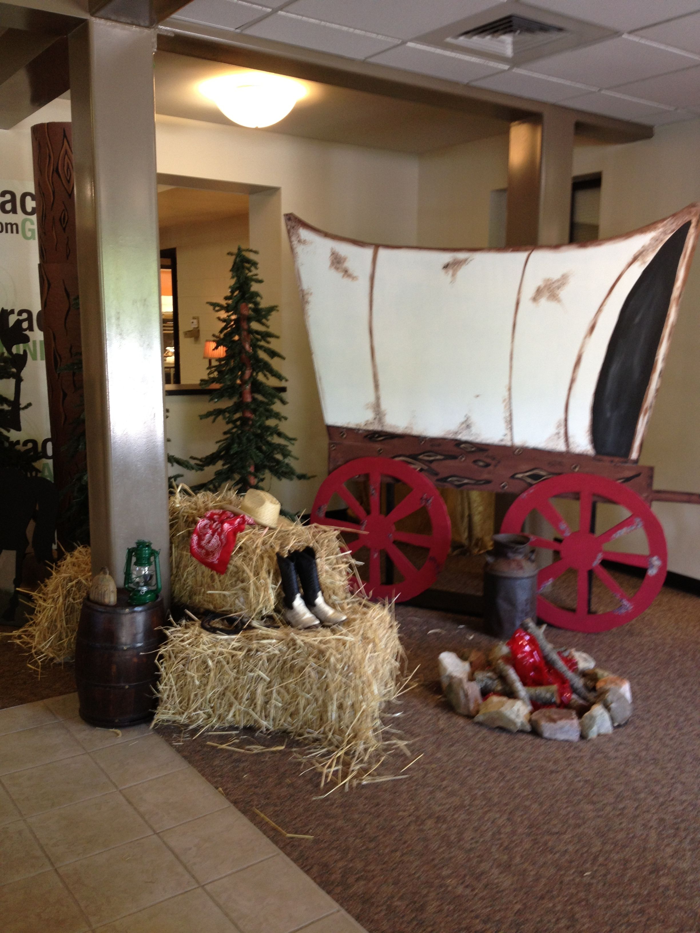 wild west covered wagon hay bale fake campfire school room pre k room decor western crafts for vbs wild west covered wagon