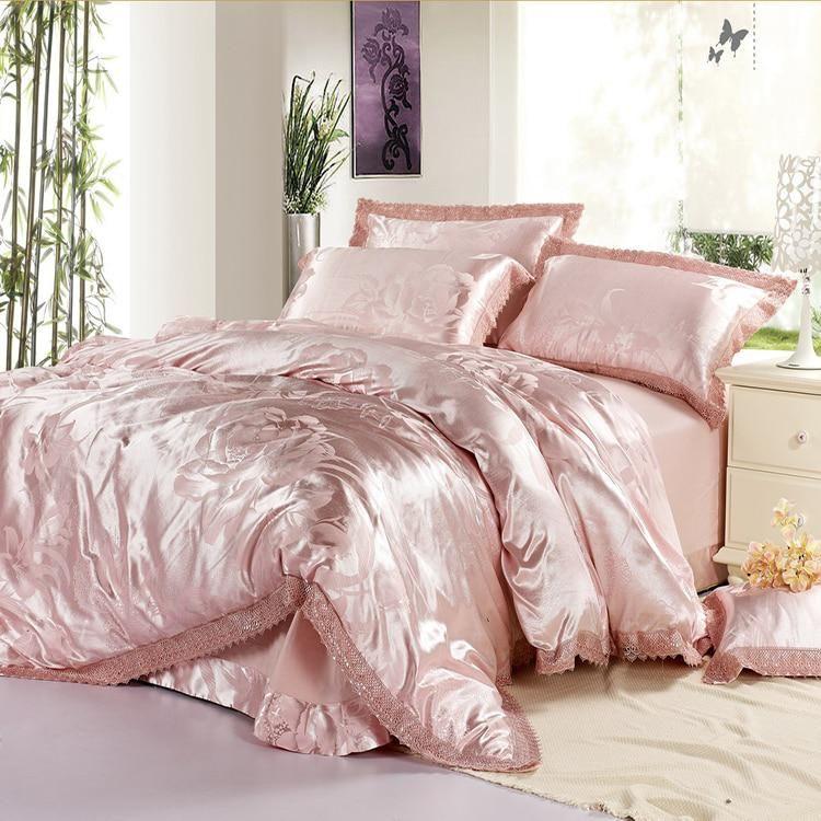 100 Silk Satin Embroidery Luxury Silk Bedding Set Duvet Cover Jacquard Wedding Bedding Set Bed Sheet Bed In A Bag Sabanas En 2020 Parure De Lit Ensembles De Literie Literie En Soie