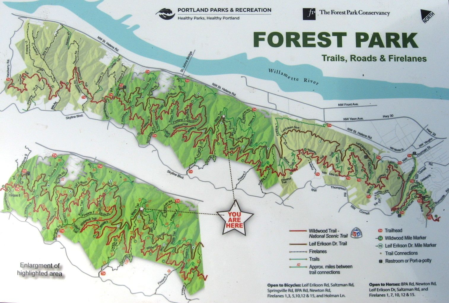 Forest Park Portland Map The overall map of Forest Park, an urban forest of over 5000 acres  Forest Park Portland Map